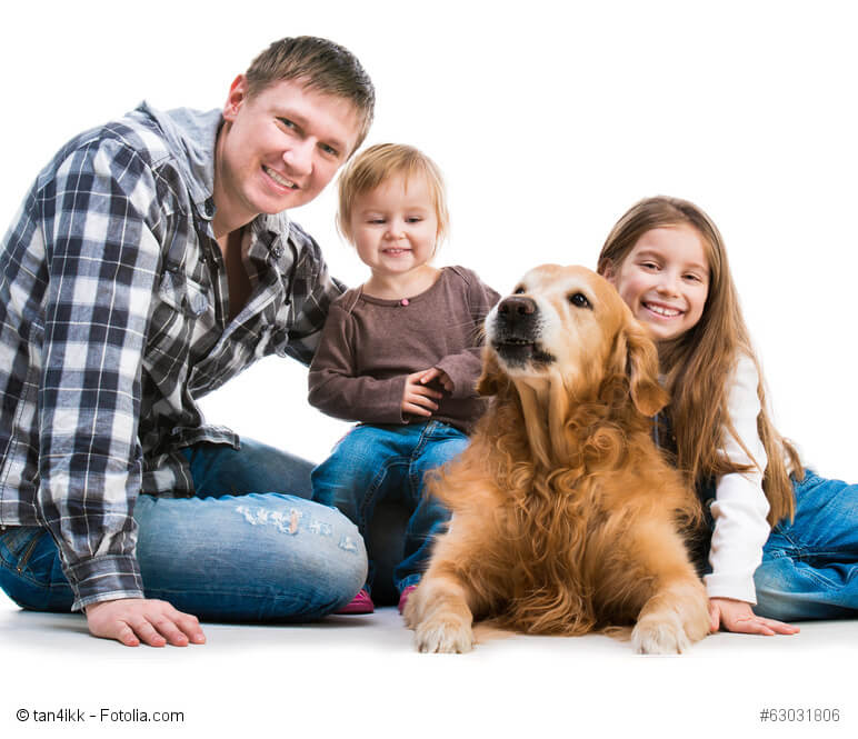 Ein liegender Hund und um ihn herum sitzen zwei Kinder und ein Mann und streicheln ihn.