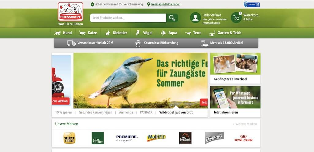 Startseite vom Online-Shop fressnapf.de
