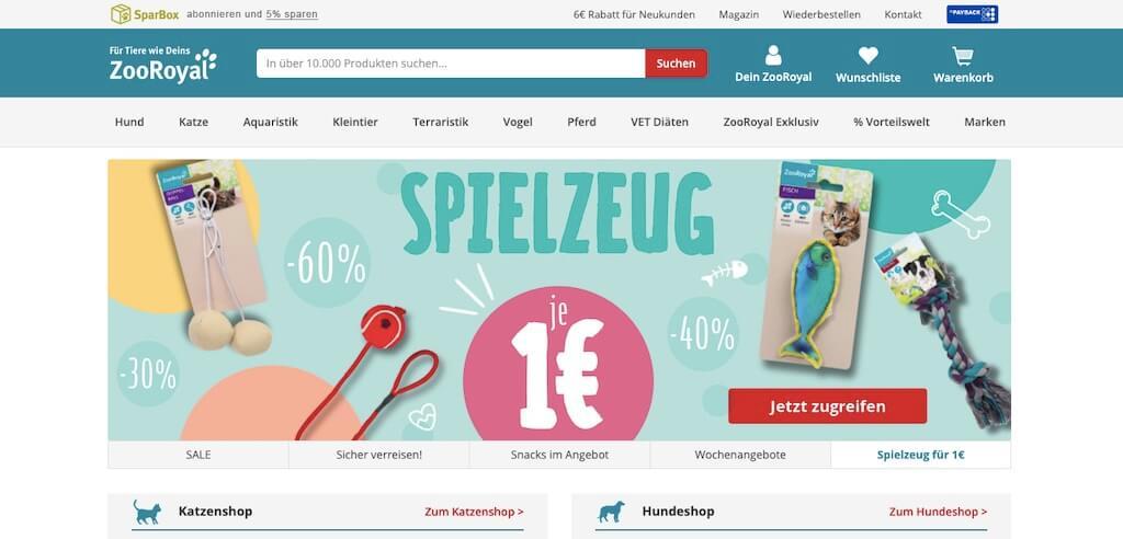 Startseite vom Online-Shop zooroyal.de