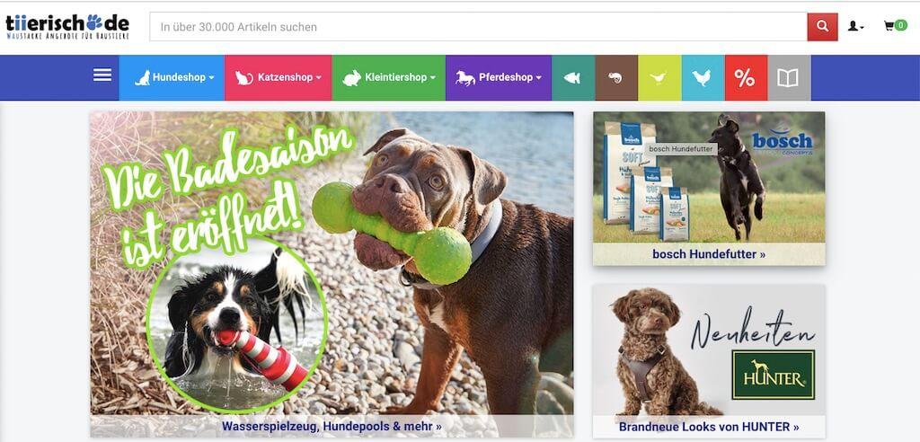 Startseite vom Online-Shop tiierisch.de