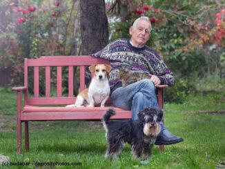 Ein alter Mann sitzt mit Hunden und Katze auf Bank im Garten