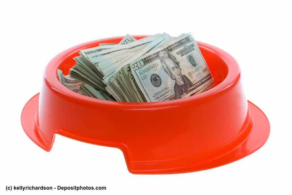 Roter Futternapf mit einem Bündel Geldscheine darin.