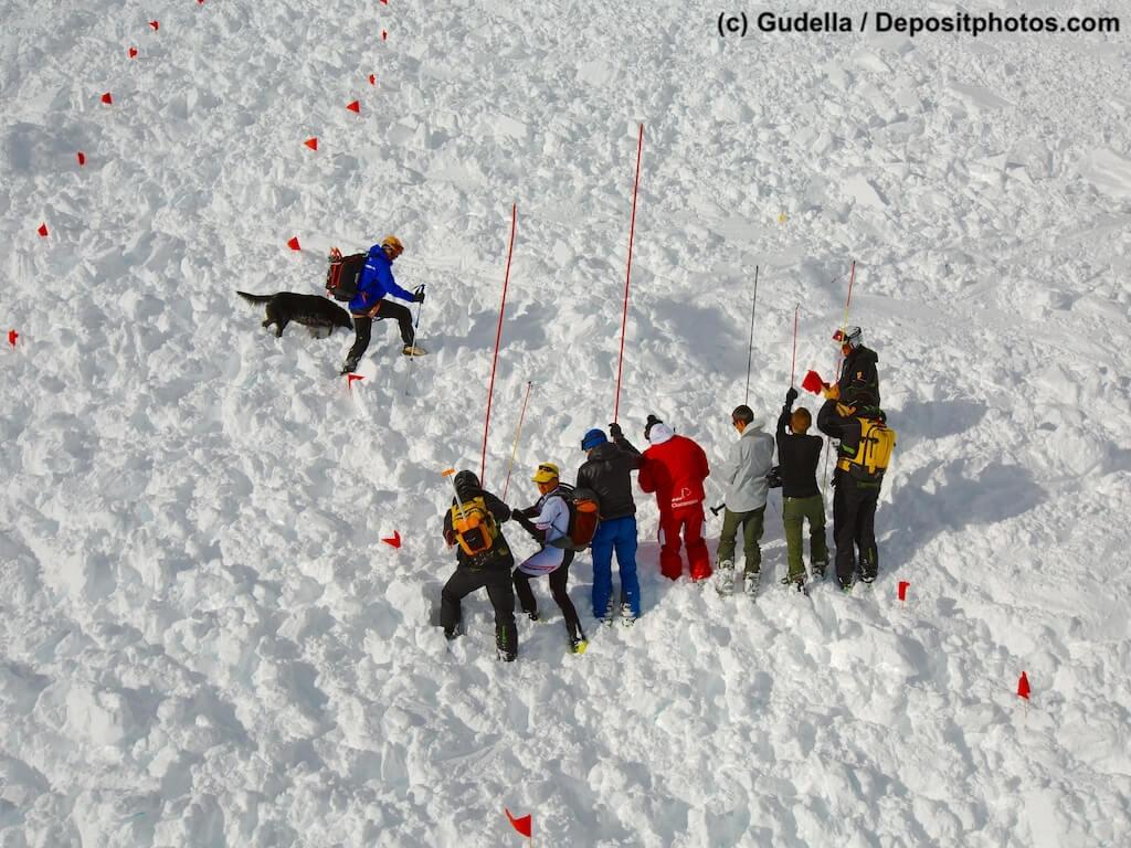 Menschenkette mit Sonden und Hund suchen auf verschneitem Berghang Lawinenopfer.