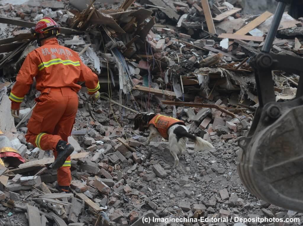 Rettungshund und Hundeführer suchen in Trümmerfeld nach Überlebenden