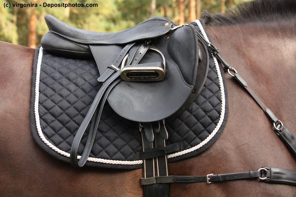 Ein schwarzer Ledersattel auf einer schwarzen Satteldecke auf einem braunen Pferd