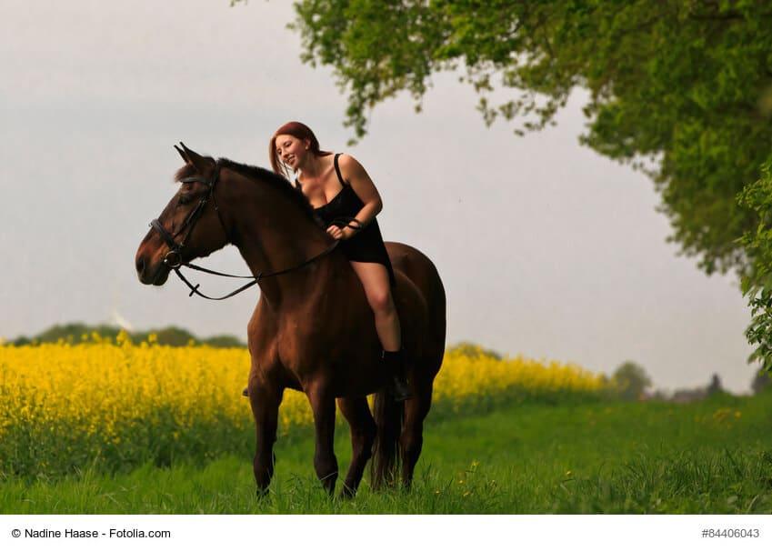 Reiterin auf Pferd am Raps