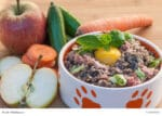 Hundenapf mit Fleisch, Ei, Obst und Gemüse