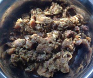 """Die Sorte """"Pute, Mango, Brokkoli & Reis"""" von PETS DELI in einem Futternapf."""
