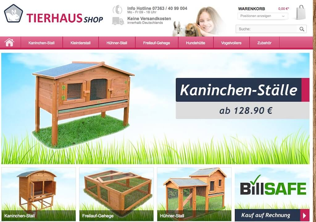 Screenshot Webseite tierhaus-shop.de