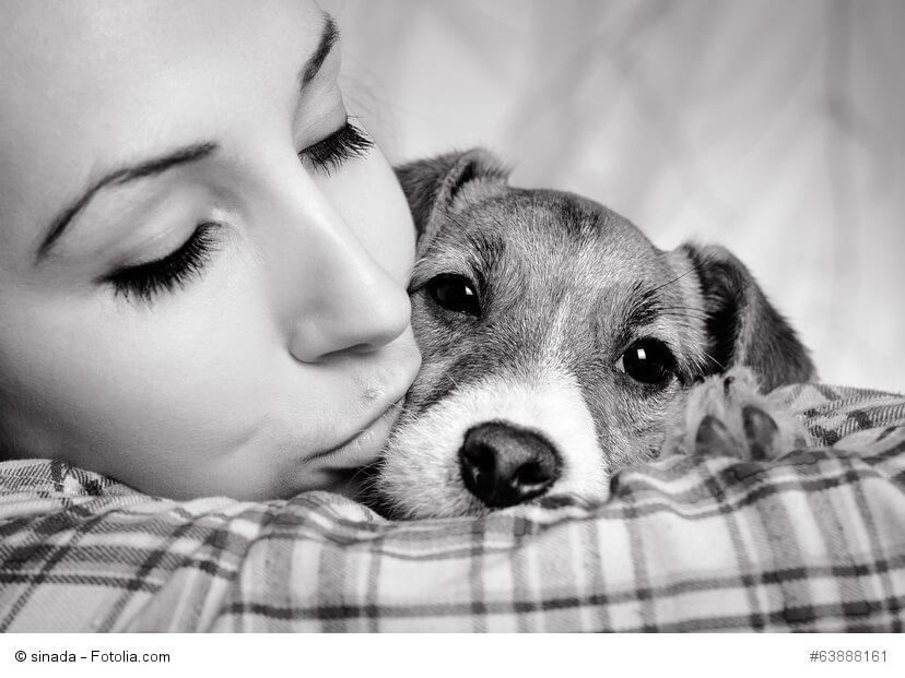 Mädchen küsst Jack Russel Terrier in schwarz-weiß